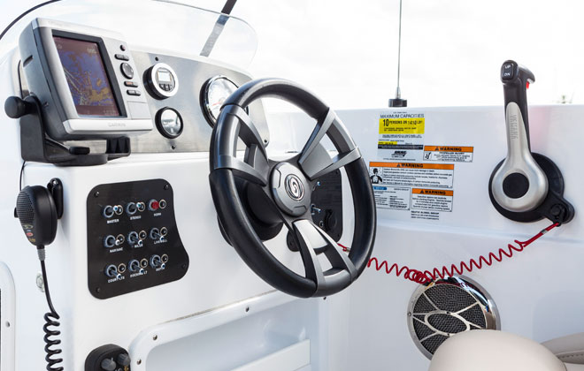Captains Console on the Hurricane Sundeck Sport Boat